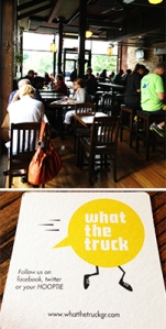 Top: The Winchester's rich interior space. Bottom: A coaster advertising the 'What the Truck' food truck.